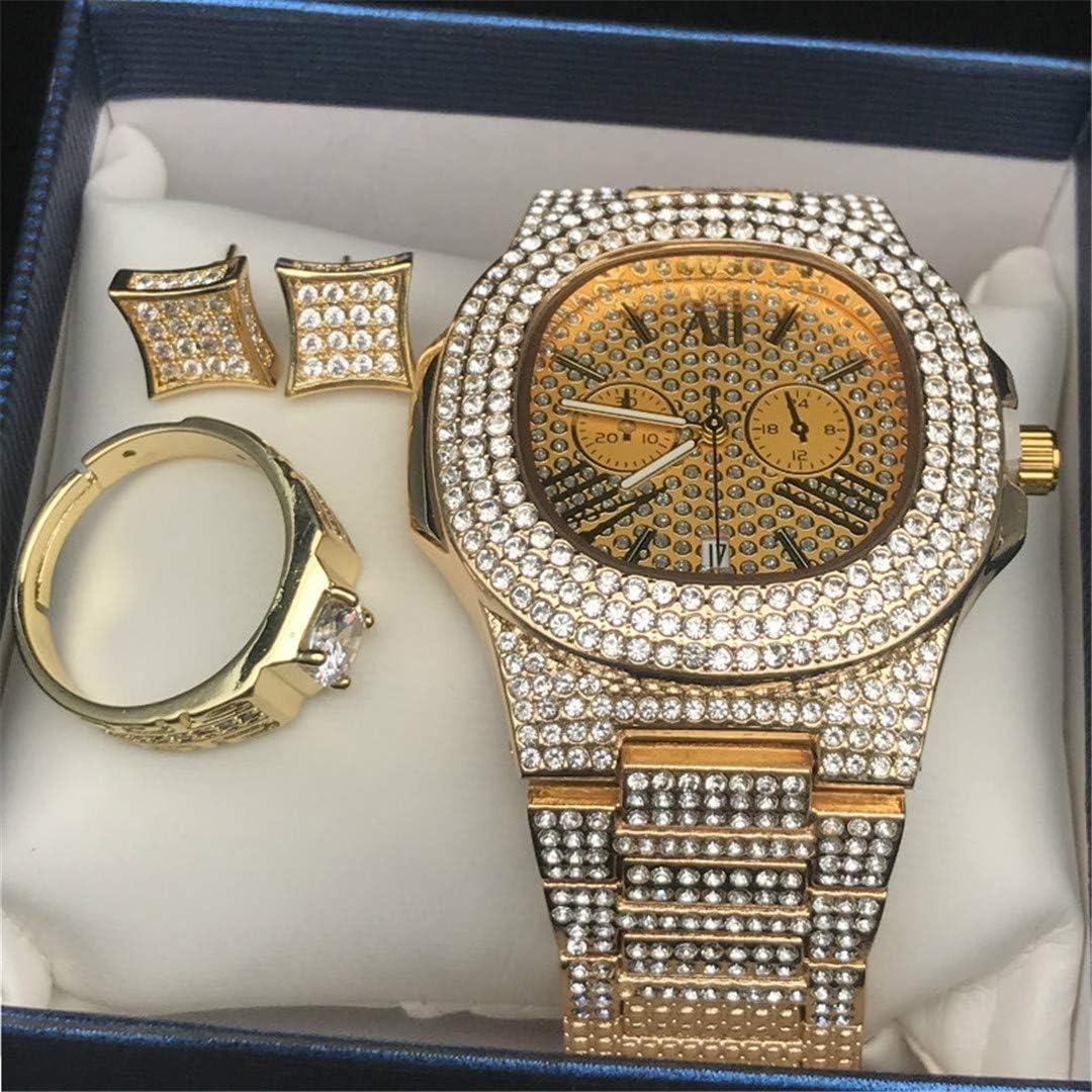 MTRESBRALTS Hombres Hip Hop Glaé Diamond Watch Anillo Anillo Combo Conjunto Anillos Ajustable Bling Rapper Joyas para Hombres