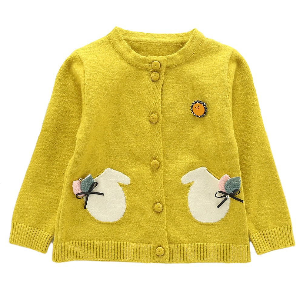 WEIXUAN Little Girls' Basic Knit Cardigan Sweater (Baby/ Toddler)