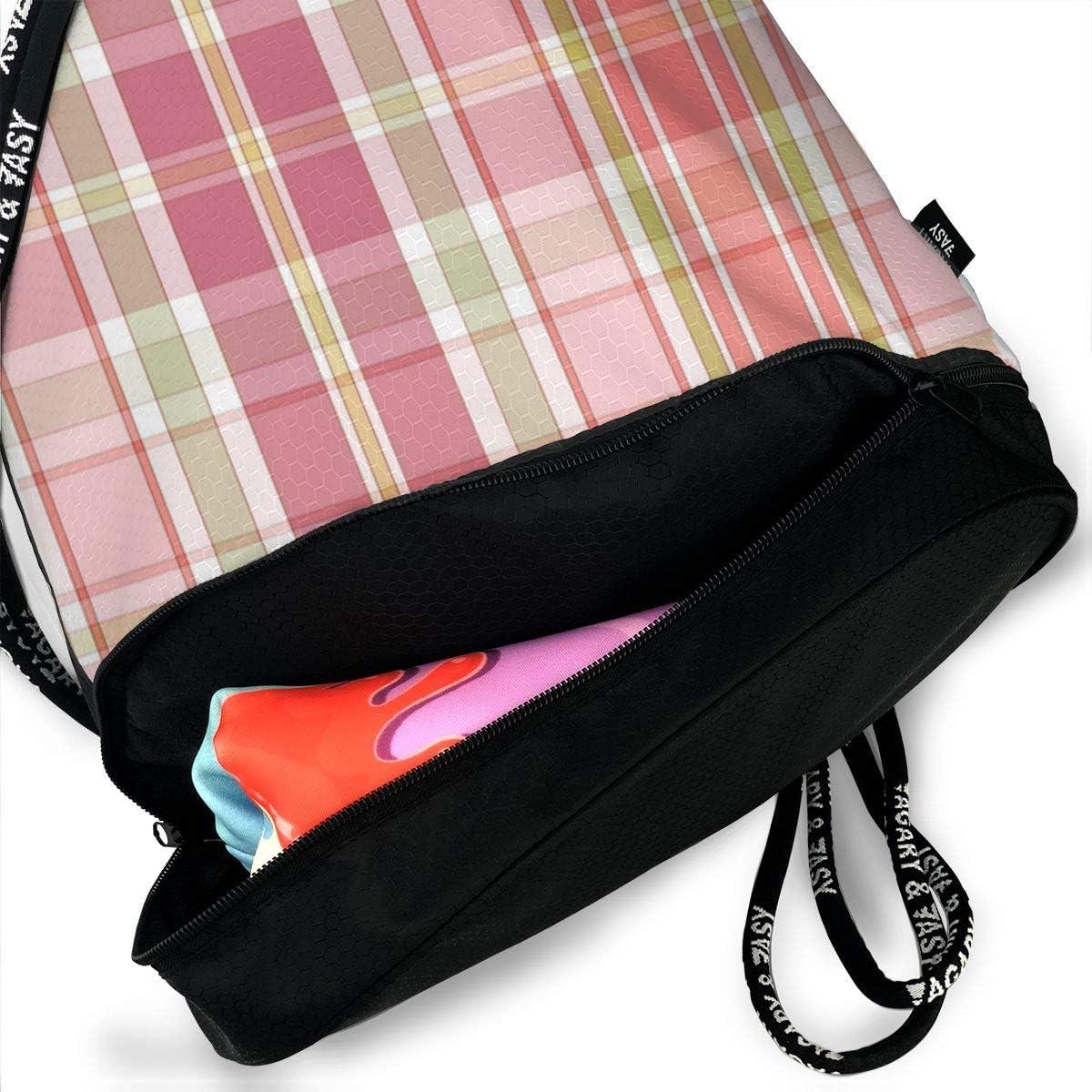 Multi Plaid Drawstring Backpack Sports Athletic Gym Cinch Sack String Storage Bags for Hiking Travel Beach
