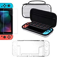 Accessories Kit for Nintendo Switch, Tendak Carrying Case for Nintendo Switch Console + Dockable Slim Cover Case + Tempered Glass Screen Protectors