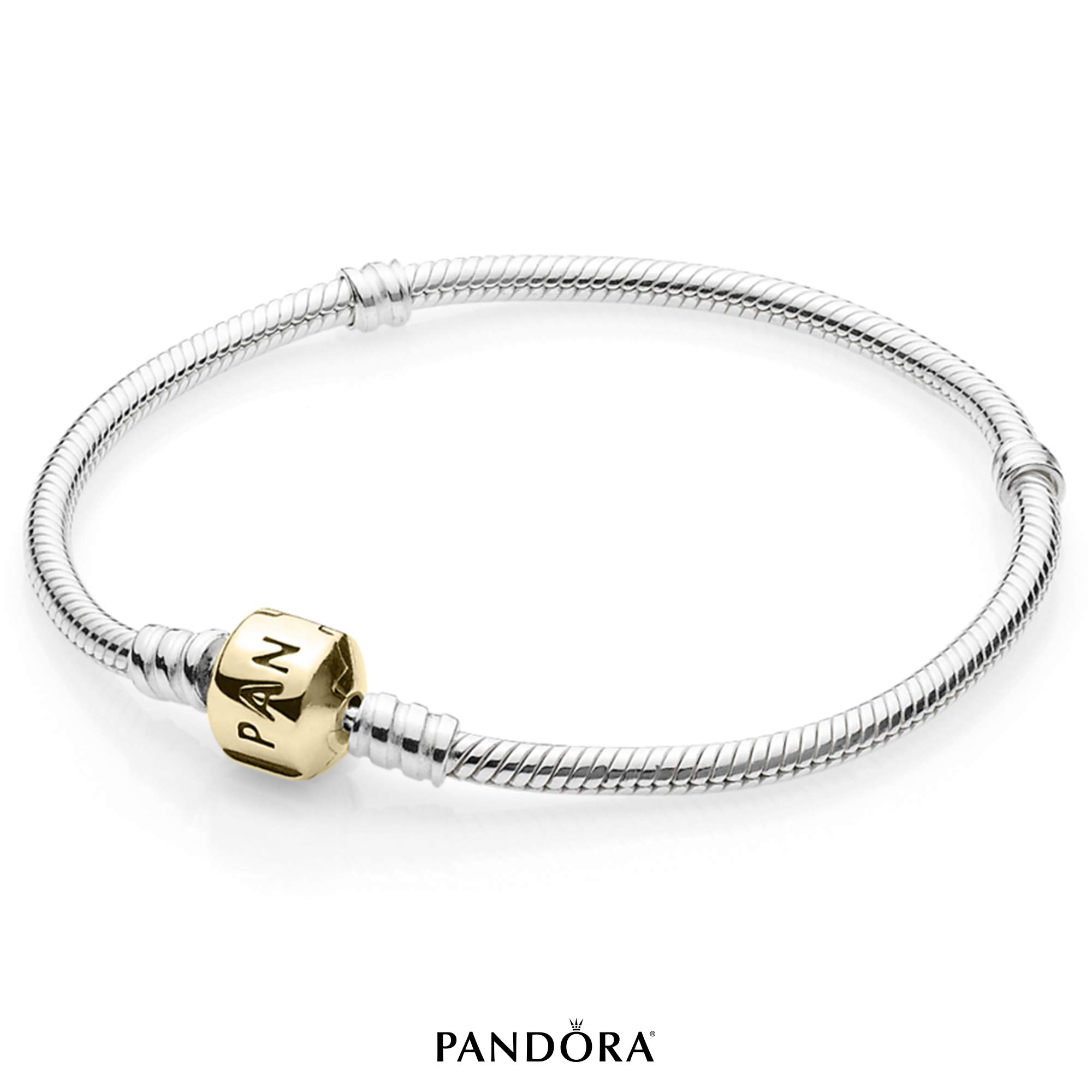 PANDORA Silver Charm Bracelet with 14K Gold Clasp, Sterling Silver, 7.1 in by PANDORA