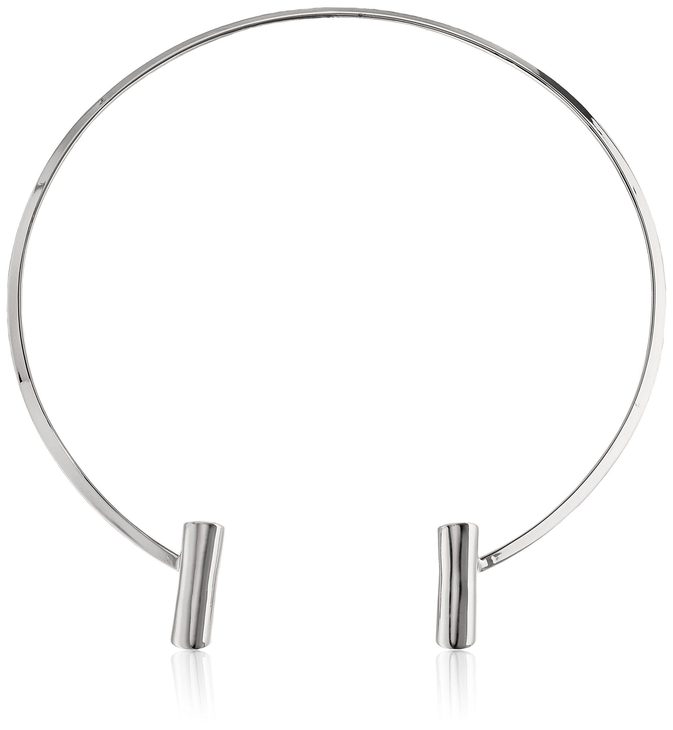 Bar Collar Choker Necklace, Silver, One Size