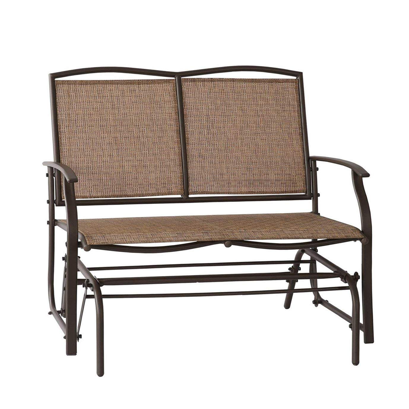 Leissu TRC-201 Patio Glider Swing Bench 2 Persons Outdoor Loveseat, Rocking Chair Brown