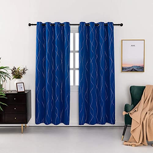 Anjee Blackout Curtains 2 Panels Sets Royal Blue 52×95 Inches Long Farmhouse Light Blocking Grommet Nursery Little Baby Childern