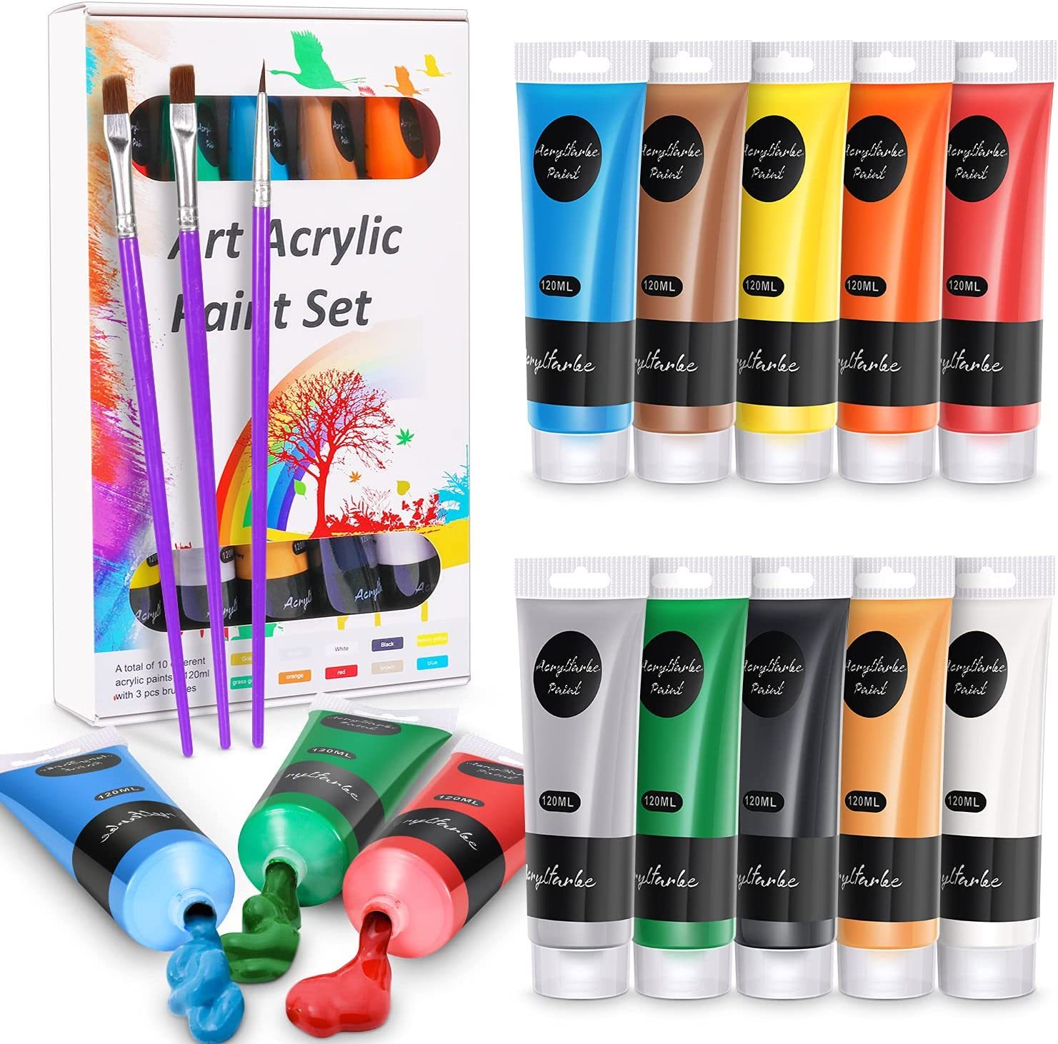 WOSTOO Acrylic Paint Set Tube + Brush Acrylic Paint Highly Opaque Quick Drying Colour Pigments High Content Acrylic Paint Set for Hobby Artists and Professionals