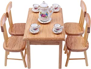 Haomian 5 Pcs Dining Table Chair Model Set 1:12 Dollhouse Miniature Furniture Wooden Furniture Set (Wood Color) with 15 Pcs Dollhouse Miniature Tableware Porcelain Ceramic Tea Cup Set
