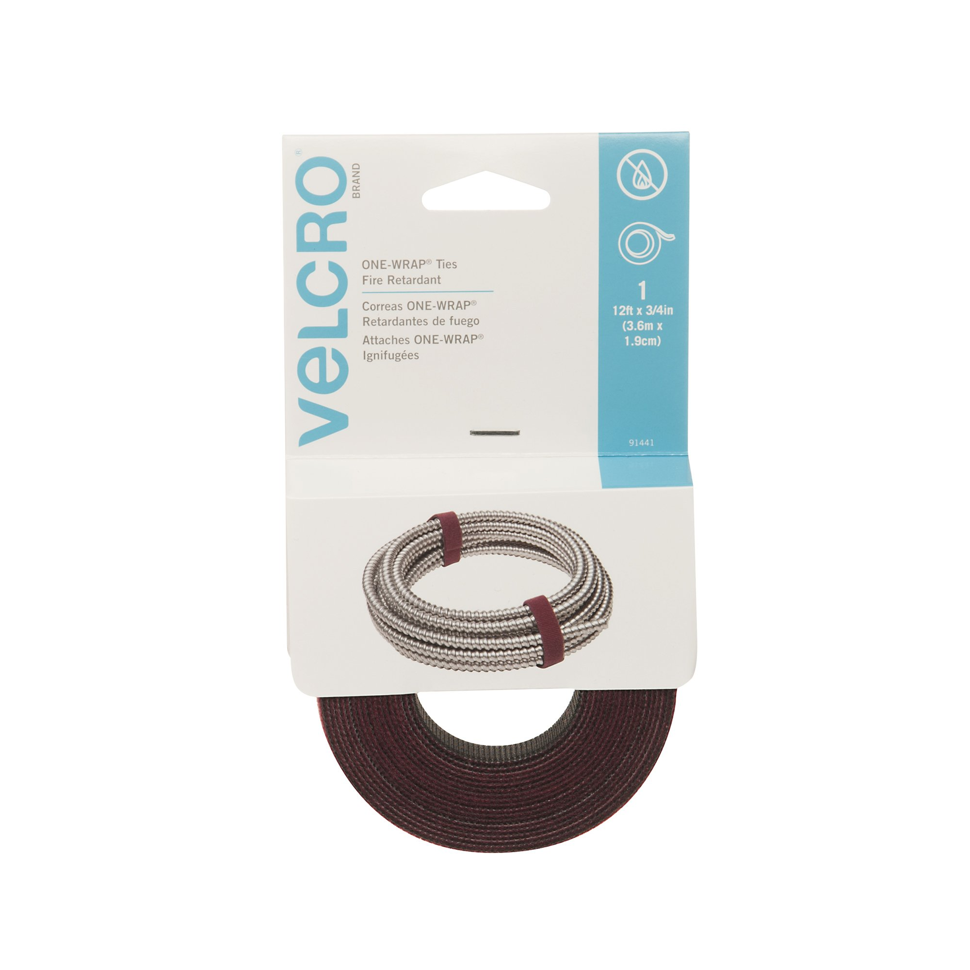 VELCRO Brand - ONE-WRAP Roll, Double-Sided, Fire Retardant, Self Gripping Multi-Purpose Hook and Loop Tape, Reusable, 12' x 3/4'' Roll - Cranberry