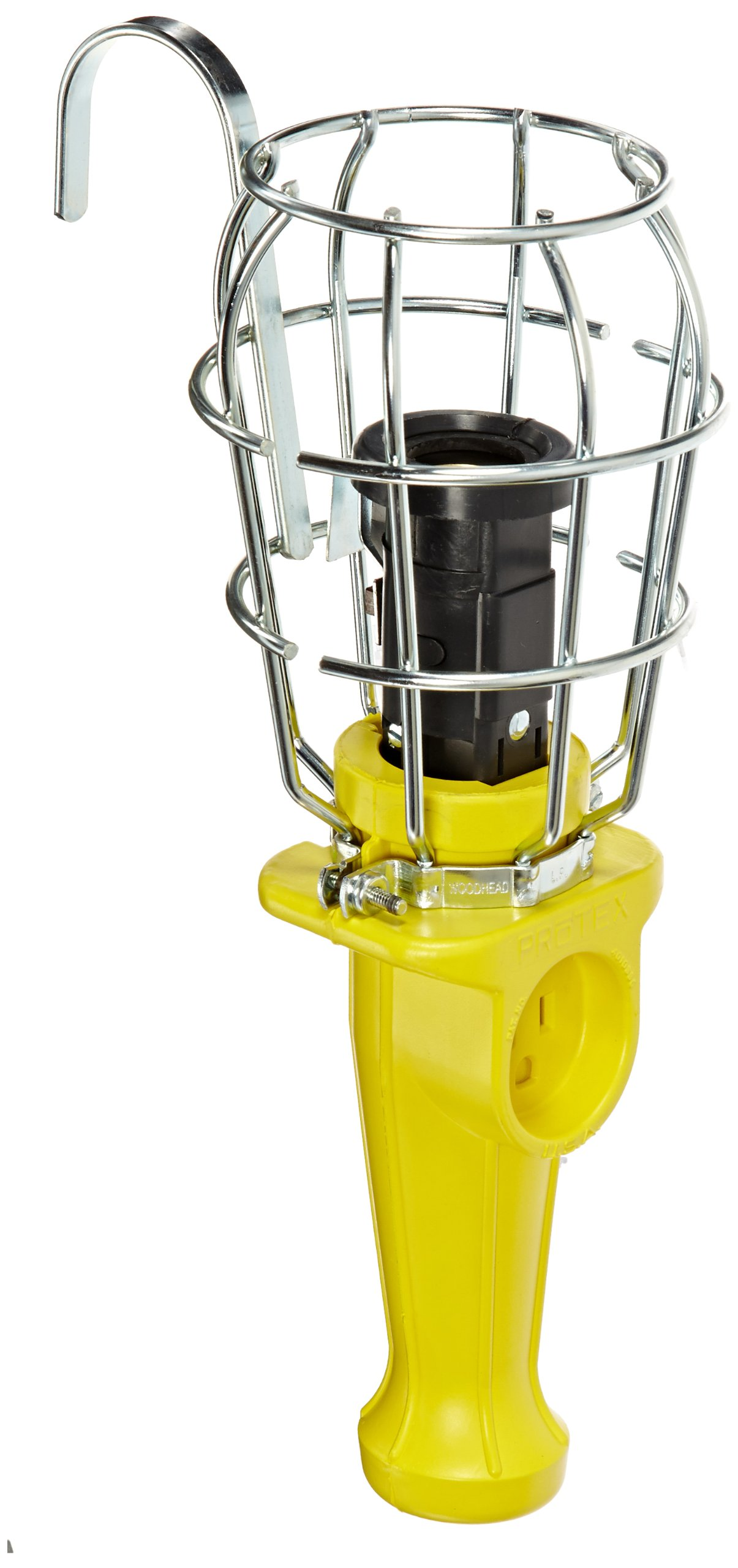 Woodhead 110US Super-Safeway Handlamp, Industrial Duty, Incandescent Bulb, 100W Max Lamp Wattage, Side Outlet, Switch, 16/3 SOOW Cord Length, Cord Length by Woodhead