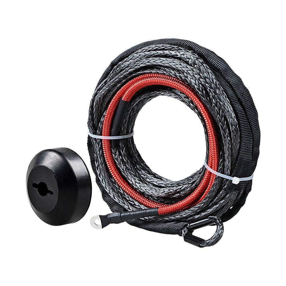 Black CNC Machined 6061 Aluminum Hawse Fairlead 3//16 x 50 Black Synthetic Winch Rope w//Heat Guard Black Rope Stopper