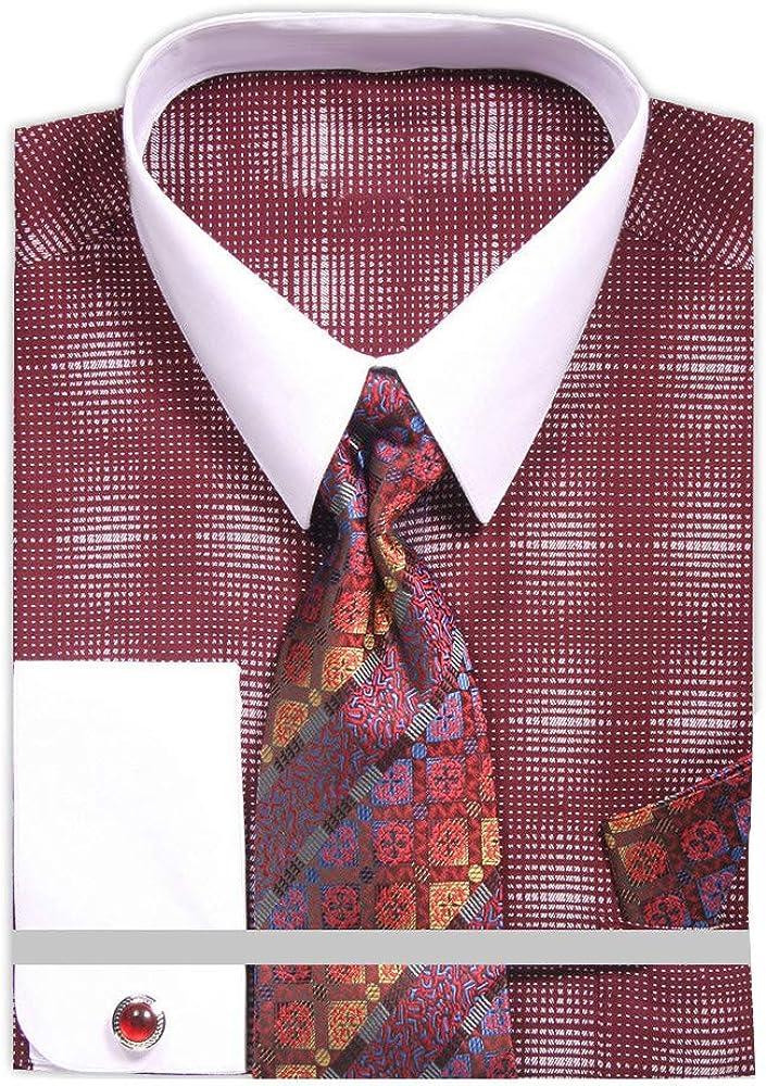 Mens Diamond Starburst Dress Shirt with Tie Handkerchief Cufflinks