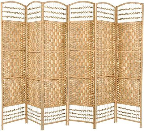 Zerone. Divisor de Habitaciones, Biombo Plegable 6 Paneles para Colocar en el Dormitorio, Sala de Estar y Oficina(Color de Madera): Amazon.es: Hogar