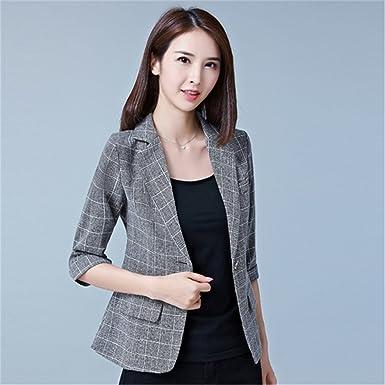 827dca03dd00 OnIn Autumn Jacket   Plus Size Gray Women s Blazer Tops Korean OL ...