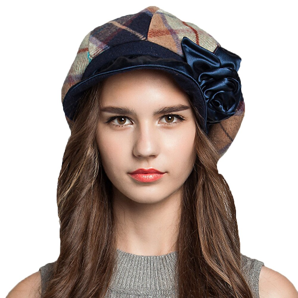 Maitose&Trade; Women's Scottish Plaid Wool Peaked Cap Beret Blue