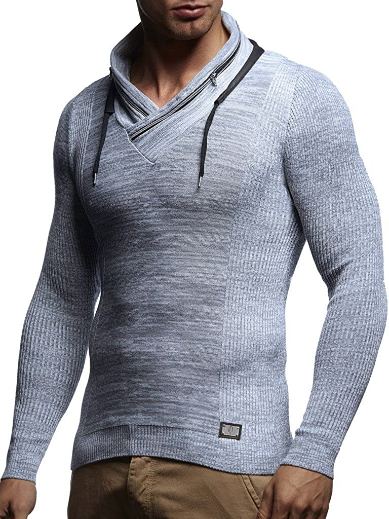 Leif Nelson Men's Pullover Knitted Pullover Hoodie Shawl Collar Sweatshirt Long Sleeve Sweater Zipper Slim Fit LN1585