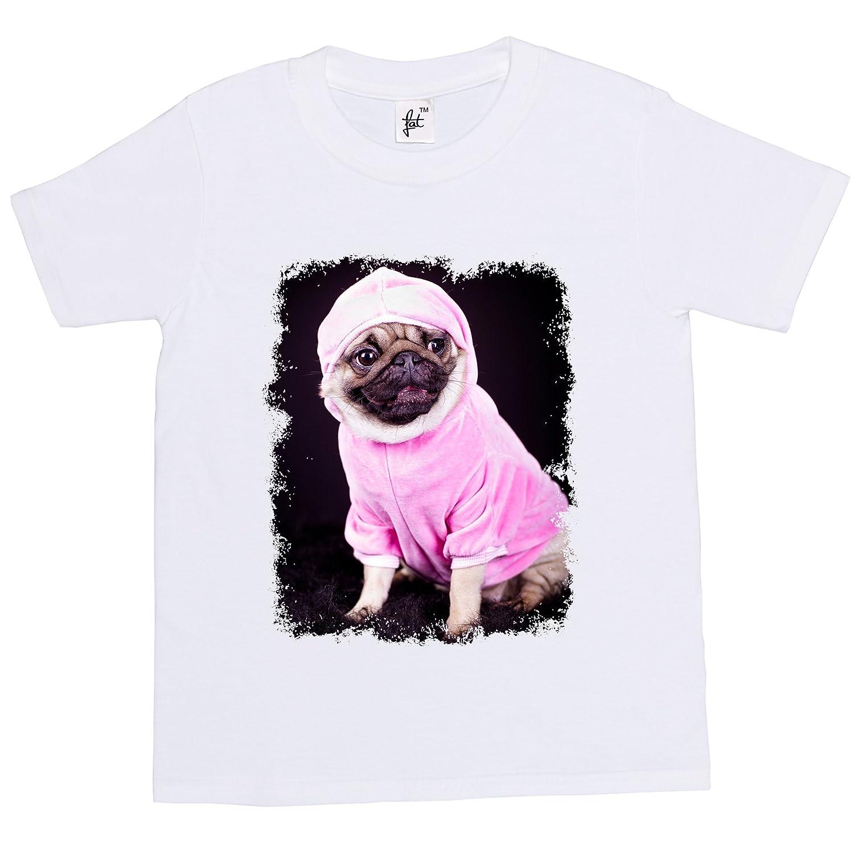 Pug Dog Dressed In Pink Hoodie Kids Boy Girl T-Shirt