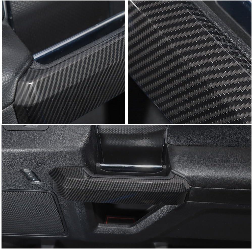 LANZMYAN Interior Door Handle Sticker Carbon Fiber Inner Door Handle Trim Cover Accessories for Ford F150 2015 2016 2017 2018 2019 2020 Black
