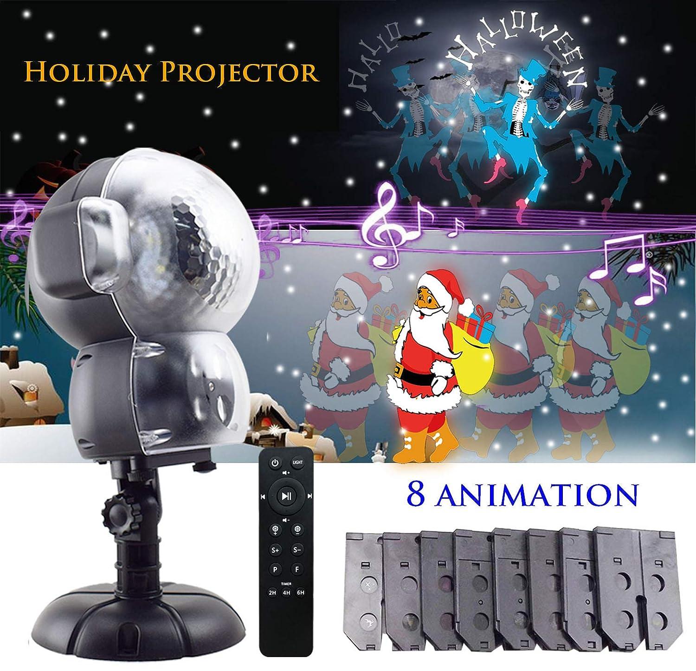 jeenso LED Nevicata Animation Proiettore, illuminazione esterno di Natale Halloween luci con funzione di riproduzione musicale e telecomando DY-106