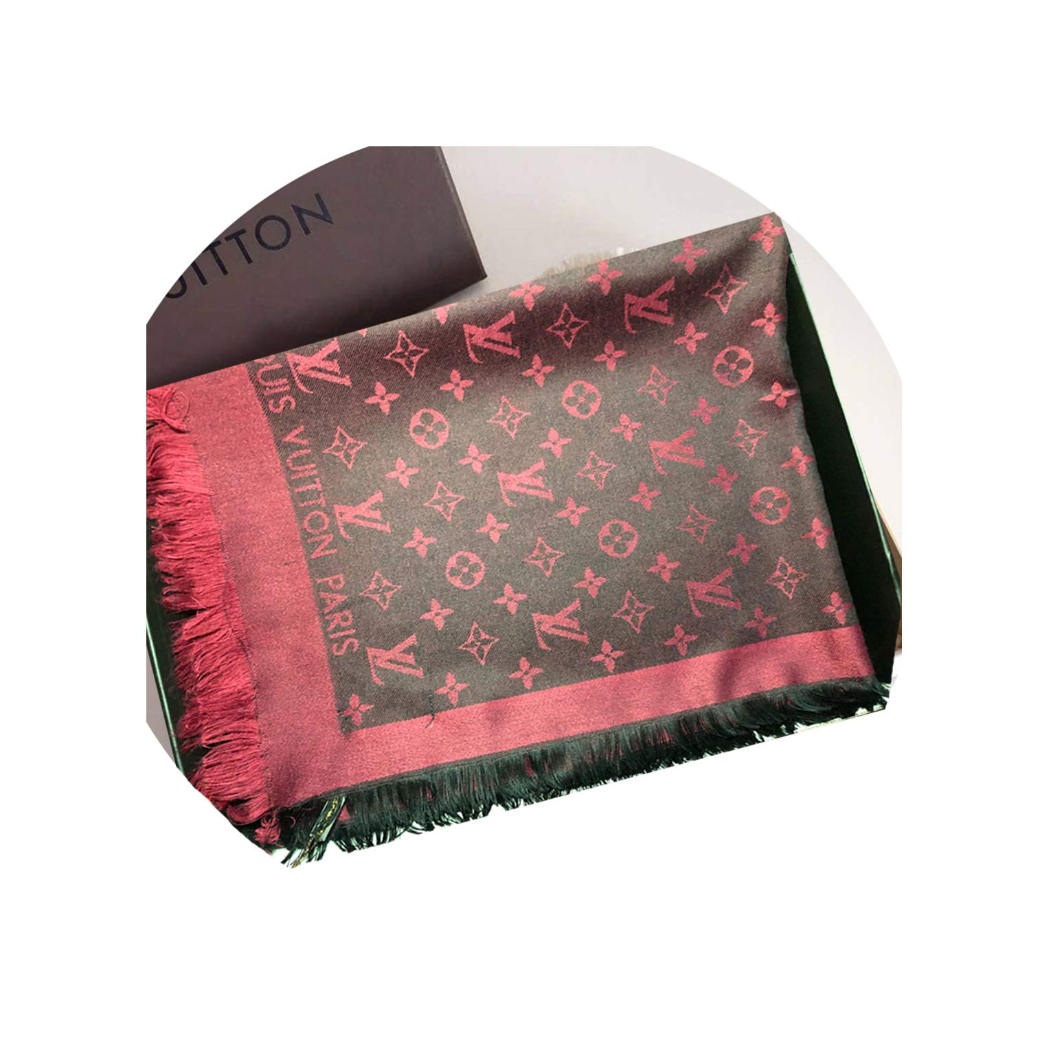 SCOOBEE Fashion Luxury Cashmere/Wool Scarf Rose Black Warm Large Square Scarves for Women Men