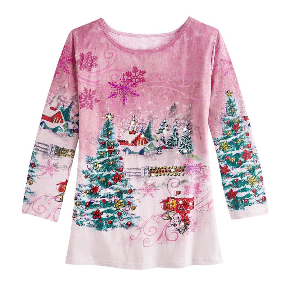Christmas Cozy Shirt KIKOY Women Xmas 3D Print Party Long Sleeve Loose Soft Tops