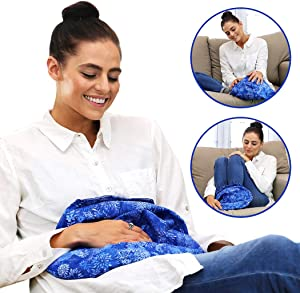 Large Microwavable Heating Pad and Cold Pack by Hot Pockets - All Purpose Microwave Heat Pack for Pain Relief, Sore Muscles, Cramps Relief, Warmth and Relaxation - Warm a Bed (Blue Flowers)
