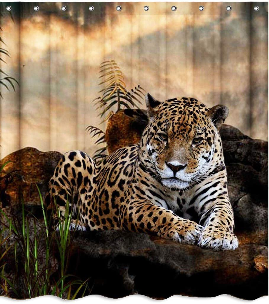 African Safari Wildlife Animal Leopard Fabric Shower Curtain Sets Bathroom Decor with Hooks Waterproof Washable 71 x 71 inches Brown Black Green