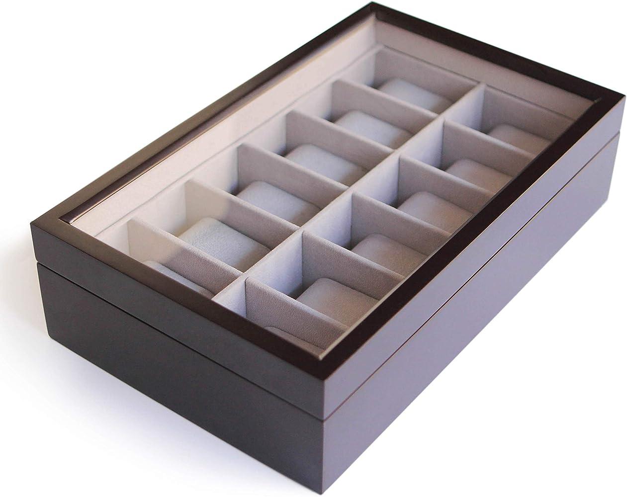 Caja Organizadora de Relojes de Madera Maciza Color Café Oscuro ...