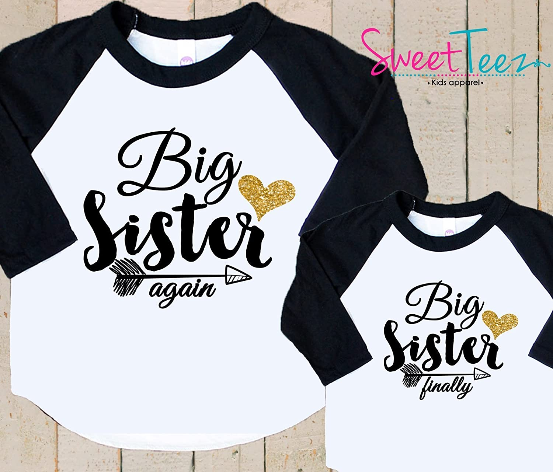 Big Sister Again Gold Glitter Big Sister Finally Shirt Set Set Shirt Black Raglan Matching Shirts Gift Pregnancy Announcement