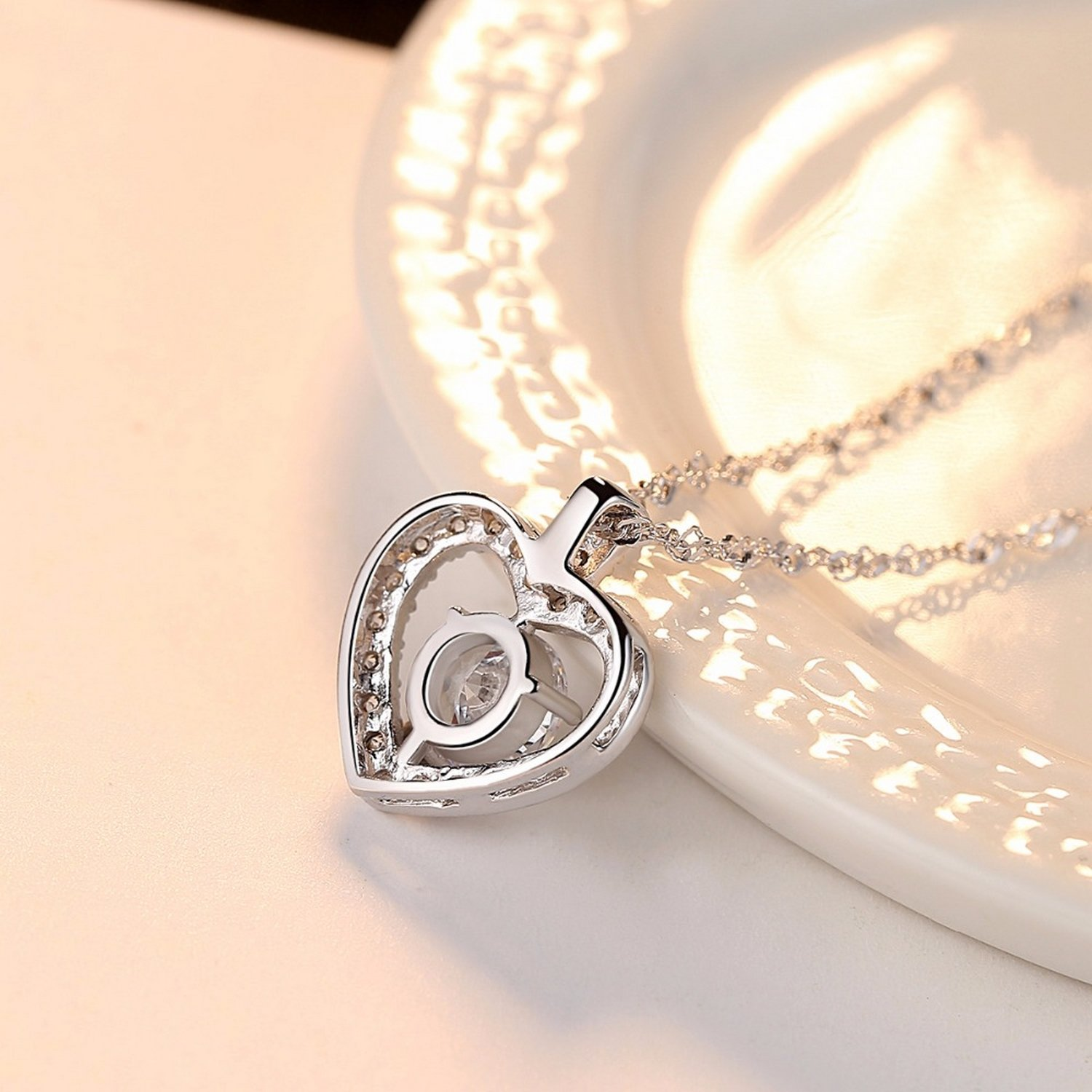 CS-DB Pendants Heart Clear Vintage CZ Silver Necklaces