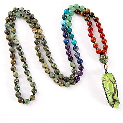 Amazon.com: 7 Chakra 108 Mala Beads Collar – Árbol de la ...