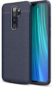 Xiaomi Redmi Note 8 Pro Case, Silicone Leather[Slim Thin] Flexible TPU Protective Case Shock Absorption Carbon Fiber Cover for Xiaomi Redmi Note 8 Pro Case (Navy)