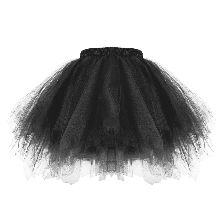 MeOkey 3 Layered Tulle Bubble Balletto Gonna Irregolare Gonfio Vintage Tutu Danza Sottoveste da Donne