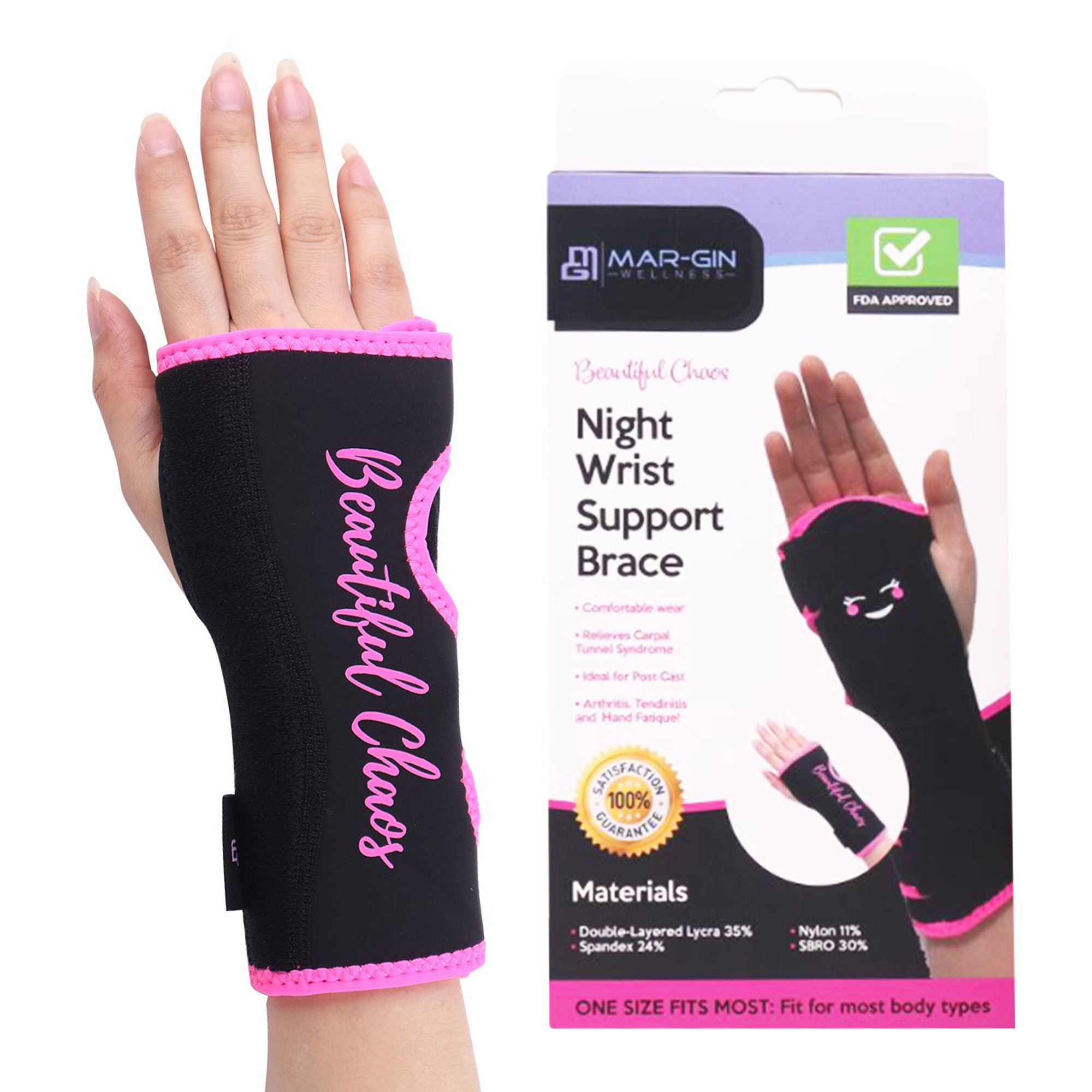 Night Wrist Brace Carpal Tunnel - Relief & Support by Margin Wellness-Removable Splint-Hand Brace Compression Light Weight Adjustable Breathable Fits Left or Right Hand Daytime & Nightime (Fun Pink)