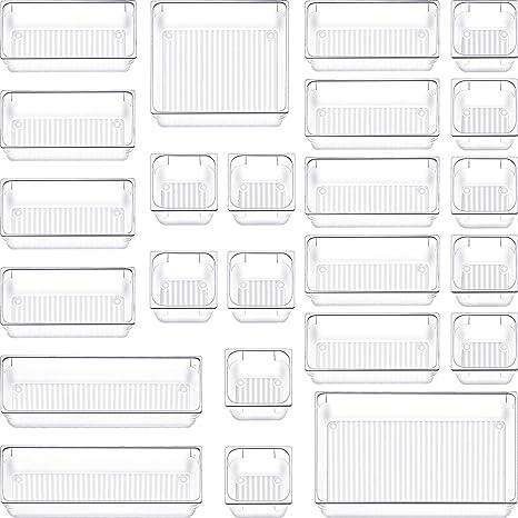 Amazon Com 24 Pcs Clear Desk Drawer Organizer Tray Plastic Bathroom Makeup Drawer Organizer 5 Size Customize Layout Organizer Container Versatile Kitchen Office Drawer Divider Bin For Dresser Vanity Cabinet Home Kitchen