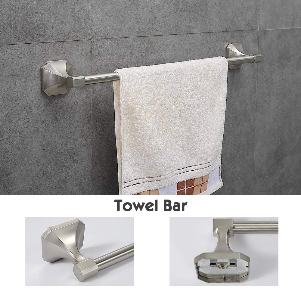 Gricol 4-Piece Bathroom Hardware Brushed Nickel Stainless Steel Accessory Set Towel Bar Wall Mounted