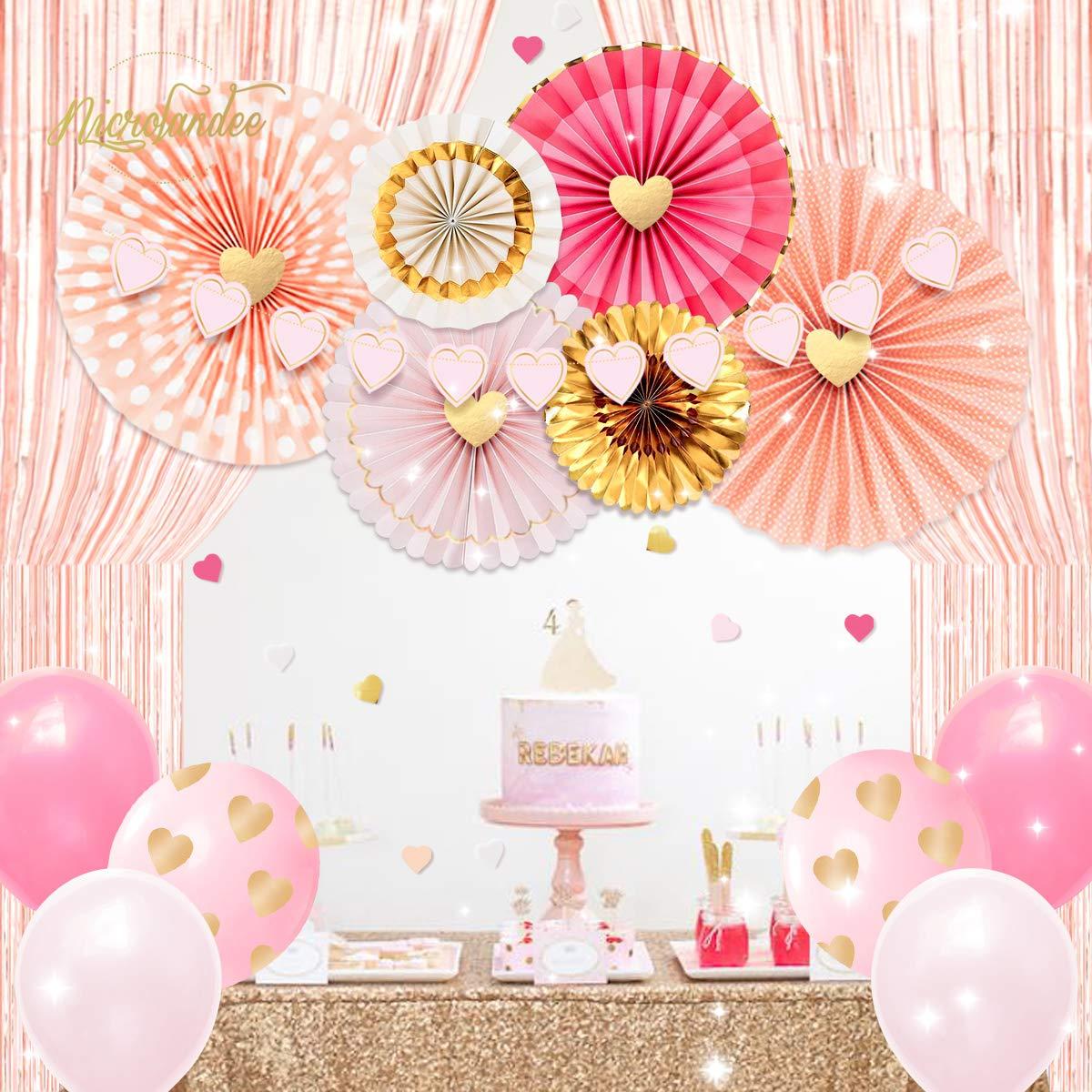 cortinas de flecos de papel de oro rosa Ventiladores de papel de oro rosa para bodas Cumplea/ños Fiesta de San Valent/ín Amor Eventos Decoraci/ón NICROLANDEE Decoraciones de despedida de soltera