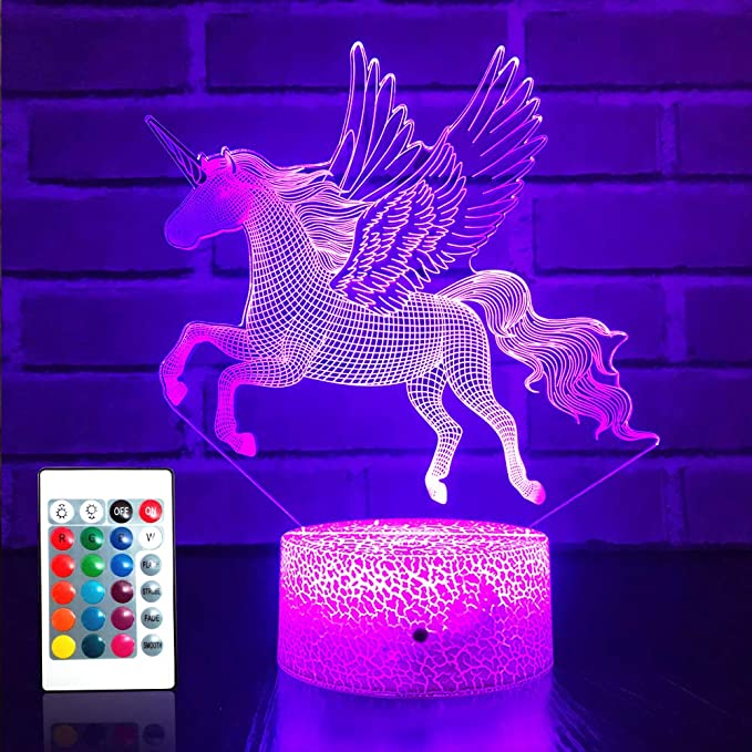 Amazon.com: JMLLYCO Unicorn Gifts Unicorn Toys Kids Night Light 16 Colors Change with Remote Control Optical Illusion Bedside Lamps As a Gift Ideas for Boys and Girls Birthday Gifts: Home Improvement