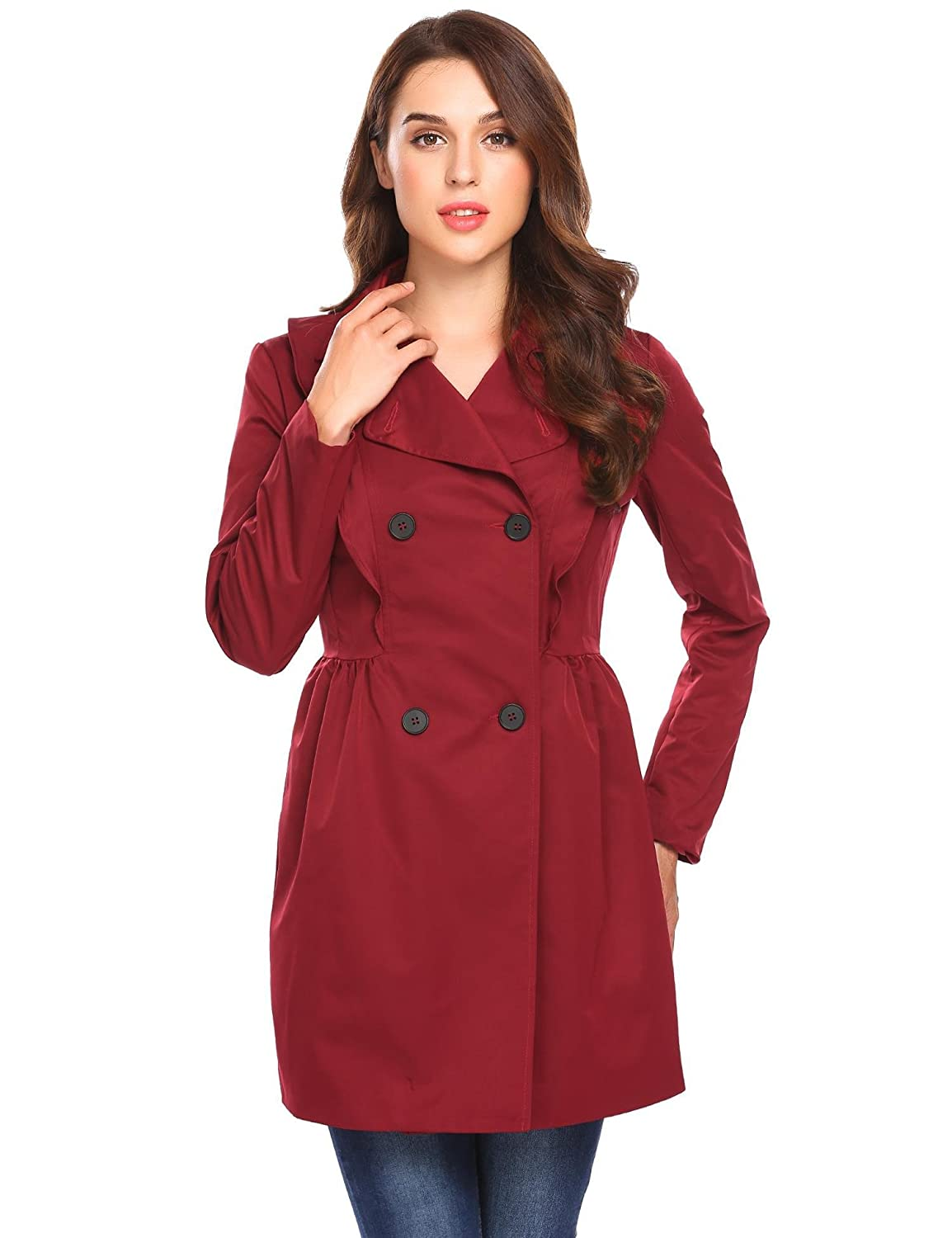 SoTeer Women's Front Button Lapel Long Trench Flare Coat with Belt