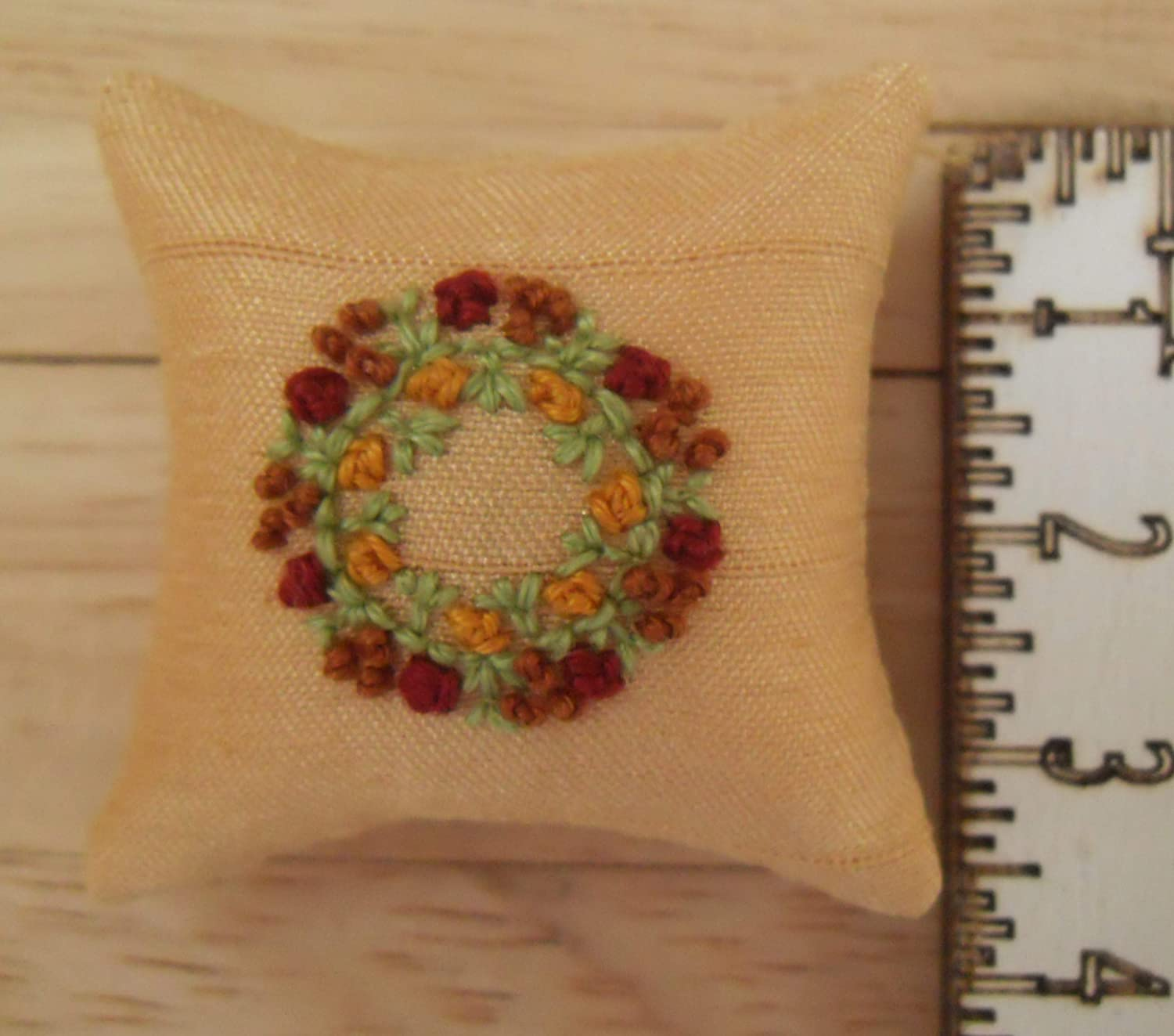 1//12th scale Dolls House Hand Embroidered Garland Design Gold Cushions Red and Gold Flowers and Berries