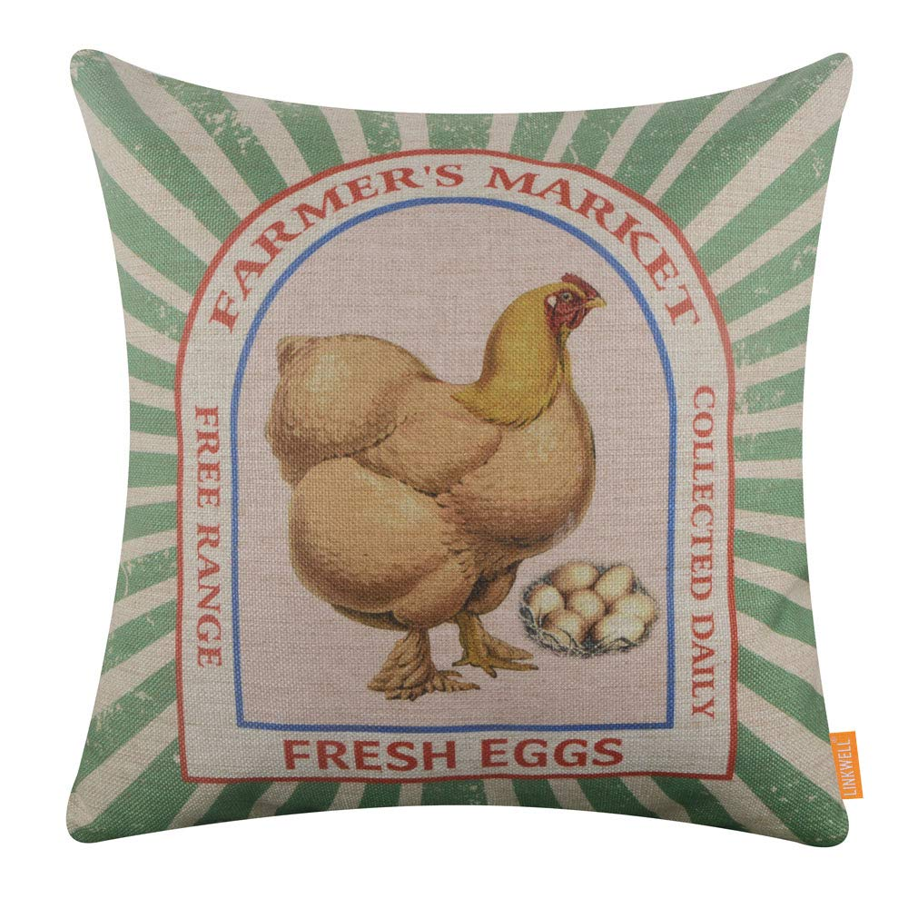 LINKWELL Square Throw Pillow Covers Decorative Cushion Case for Sofa Bedroom Car Couch 18 x 18 Inch - Farm Fresh Eggs CC1612