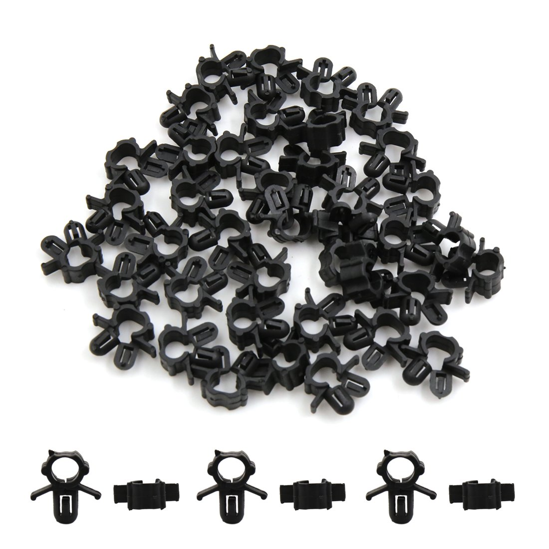 Amazon.com: uxcell 40Pcs Black Plastic Tube Clips Wiring Harness Clamp  Fastener Rivets 6.5mm: Automotive