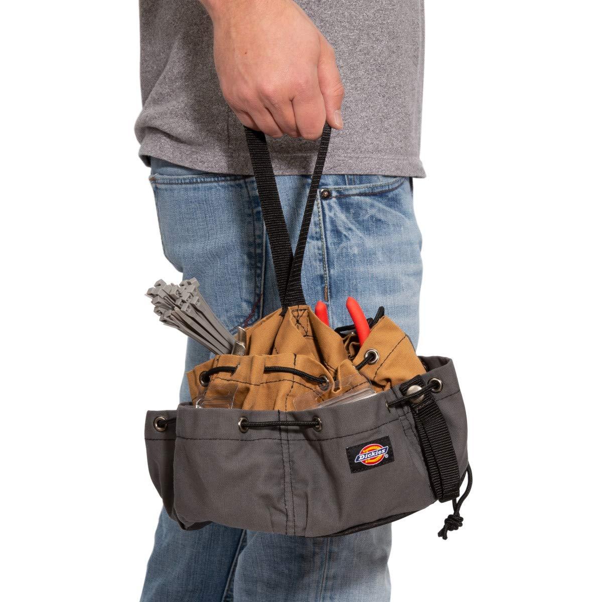 Dickies Work Gear – 12-Pocket Parachute Style Bag – 57004 – Grey/Tan Parachute Work Bag – Tool Bag – Construction – Snap-Secured Tape Strap – 8.8 oz. by Dickies Work Gear (Image #5)