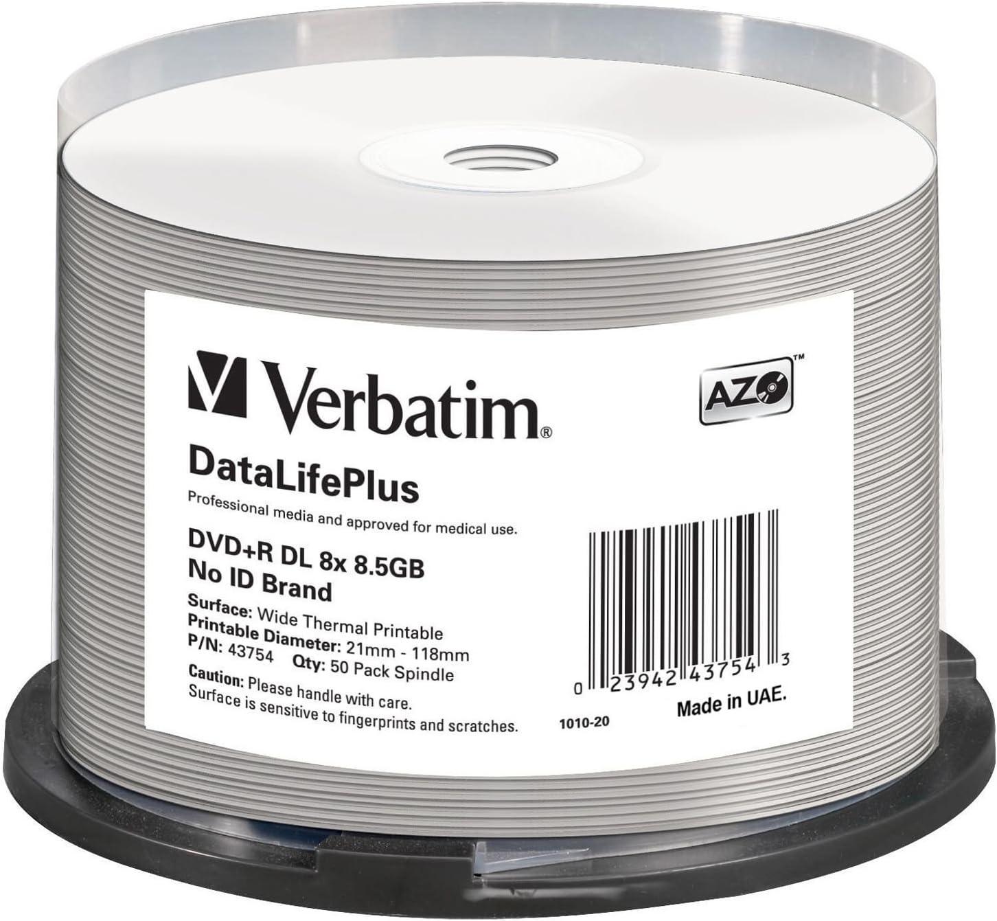Verbatim Dvd R 8x Double Layer Wide Thermal Printable 8 5gb I Datalifeplus I 50er Pack Spindel I Dvd Rohlinge Thermal Bedruckbar I 8 Fache Brenngeschwindigkeit I Dvd R Printable I Dvd Leer Audio