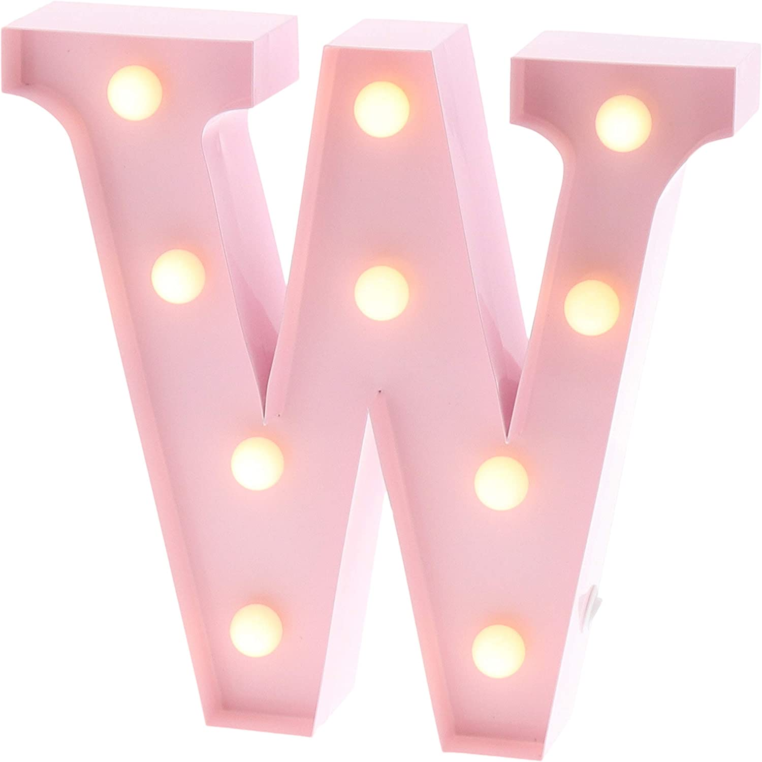 "Barnyard Designs Metal Marquee Letter W Light Up Wall Initial Nursery Letter, Home and Event Decoration 9"" (Baby Pink)"