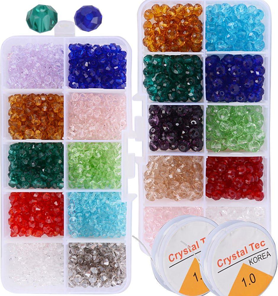 1500pcs Cuentas Cristal Plastico Surtidos de Abalorios Collar Pulsera Colores para Manualidades Bricolaje (1500pcs losange y óvalo)
