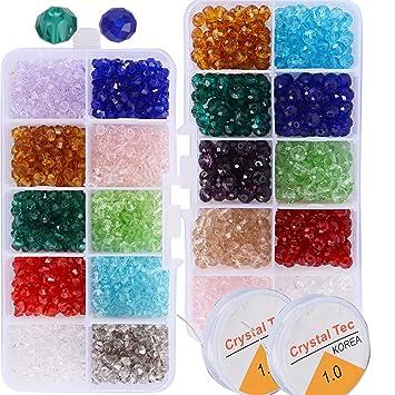 caee4404c 1500pcs Cuentas Cristal Plastico Surtidos de Abalorios Collar Pulsera  Colores para Manualidades Bricolaje (1500pcs losange y óvalo): Amazon.es:  Juguetes y ...