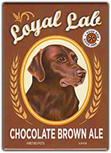 "Retro Pets Refrigerator Magnet - Loyal Lab Chocolate Brown Ale (Beer), Chocolate Lab (Labrador Retriever) - Vintage Advertising Art - 2.5"" x 3.5"""