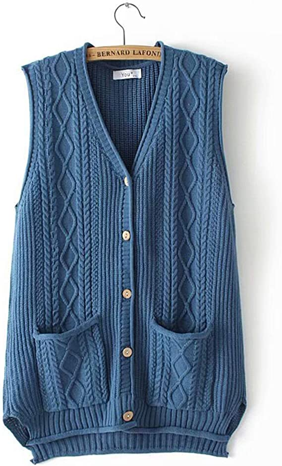 Outwears Sweater Vest Men V-Neck Wood Button Knitted Vest Sleeveless Cable Knitwear Cardigan Waistcoat with Pockets for Spring