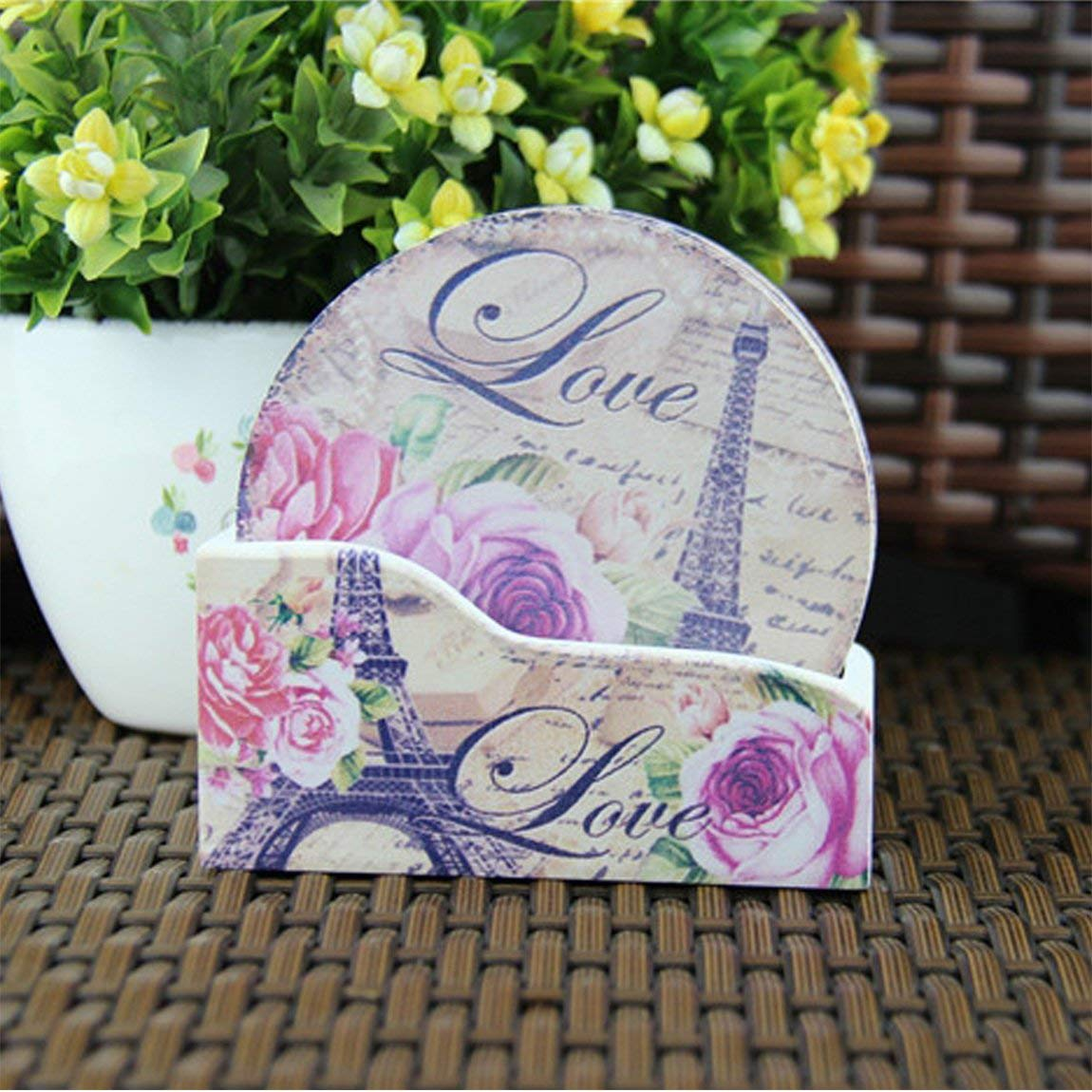 4.3 NO.6-Lavender NewFerU Cork Absorbent Coasters with Holder Decorative Round Heat Resistant Pad Mats Spoon Rest Trivet Set Table Runner Kit Large for 6 Drinks Hot Pans,Pots,Stovetop,Countertops