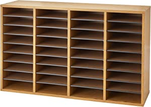 Safco Products Wood Adjustable Literature Organizer, 36 Compartment 9424MO, Medium Oak, Durable Construction, Removable Shelves, Stackable