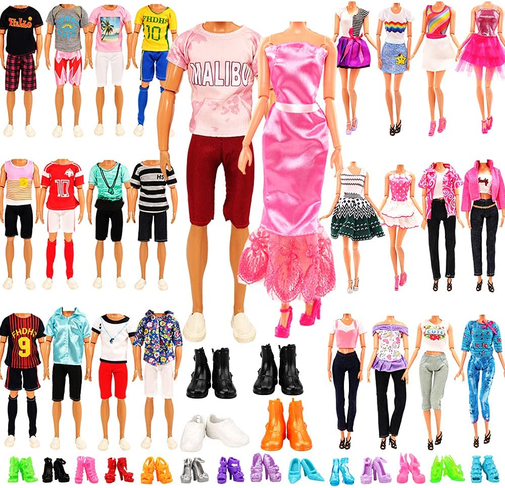 Miunana Lot 21 pcs Random Doll Clothes Shoes Set for 11.5 inch Doll, Includ 6 Ken Boy Clothes + 3 Girl Clothes + 3 Girl Fashion Skirts + 4 Pairs of Ken Boy Shoes + 5 Pairs of Girl Doll Shoes